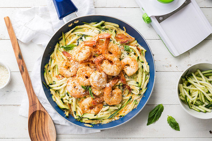 Keto meal prep recipe: simple garlic shrimp Alfredo with zoodles
