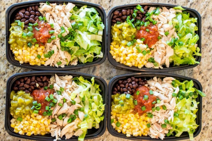 No Cook Chicken Meal Prep Burrito Bowl Recipe