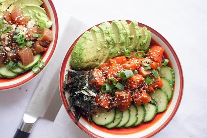 Salmon poke bowl keto meal prep recipe
