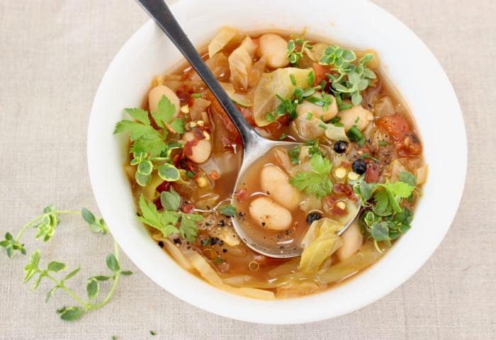 Cabbage and White Bean Healthy Soup Recipes