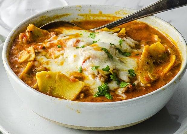 Vegan Dinner Recipes - High Protein Lasagna Soup
