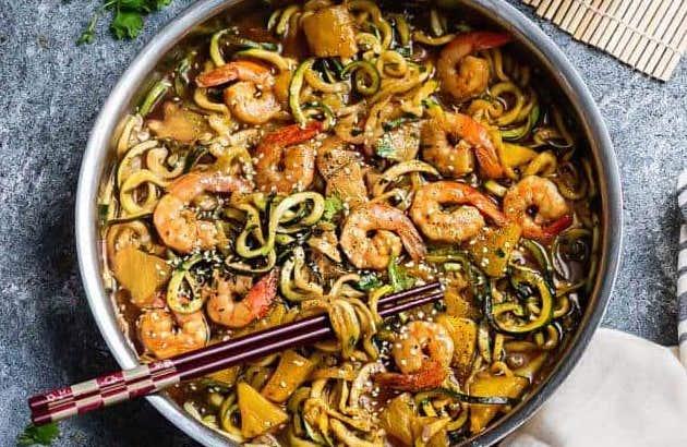 Shrimp Teriyaki Zoodles Paleo Meal Prep