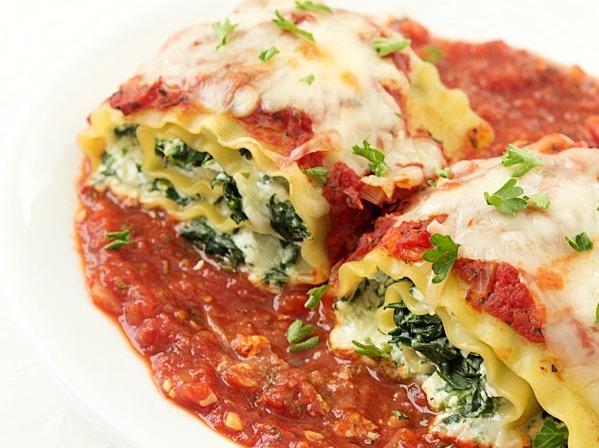 Spinach Lasagna Roll-Ups Vegetarian Dinner Recipes