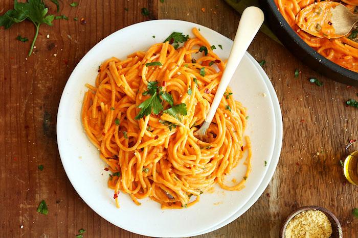 Vegan Dinner Recipes Roasted Red Pepper Pasta