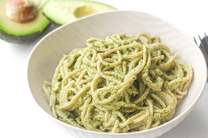 Creamy Avocado Basil Pesto Spaghetti Vegetarian Dinner Recipes