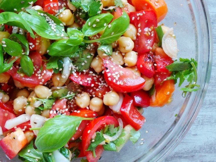 Healthy Tomato, Basil, and Chickpea Salad Vegan Dinner Recipes