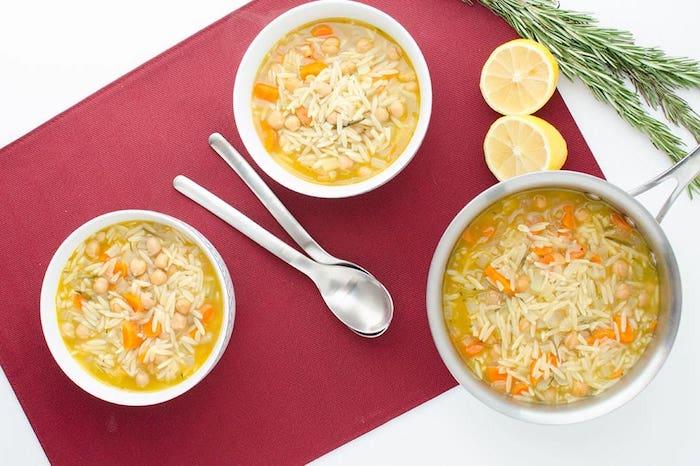 Lemon Chickpea Orzo Healthy Soup Recipes