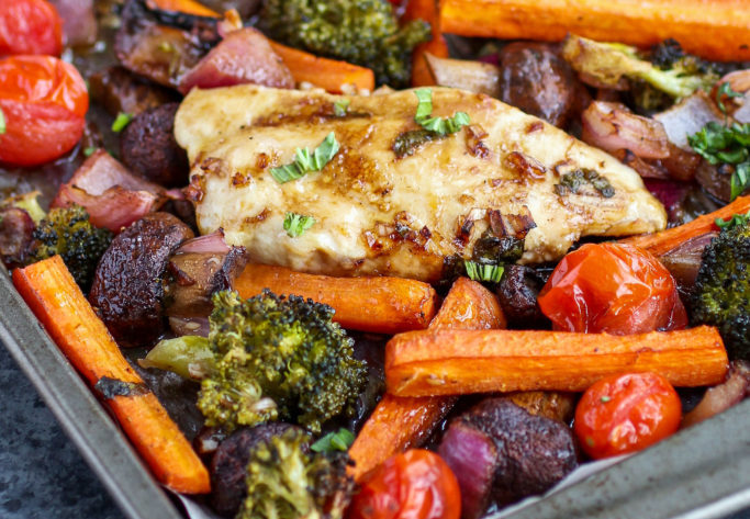 One Pan Balsamic Chicken Veggie Paleo Meal Prep