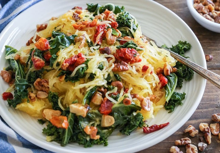 Roasted Garlic and Kale Spaghetti Squash Vegan Dinner Recipes