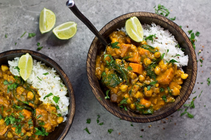 Sweet Potato, Chickpea, and Spinach Coconut Curry Vegan Dinner Recipes